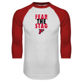 White/Red Raglan Baseball T-Shirt-Fear the Stag Distressed