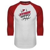 White/Red Raglan Baseball T-Shirt-Basketball Angled in Ball
