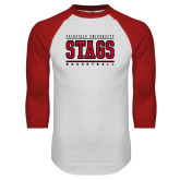 White/Red Raglan Baseball T-Shirt-Basketball Stacked