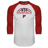 White/Red Raglan Baseball T-Shirt-Basketball Half Ball