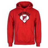 Red Fleece Hood-Softball Diamonds with Seams