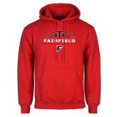 Red Fleece Hoodie-Basketball Half Ball