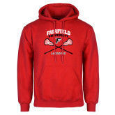 Red Fleece Hoodie-Lacrosse Arched Cross Sticks