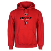 Red Fleece Hoodie-Lacrosse Geometric Head