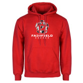 Red Fleece Hoodie-Soccer Geometric Ball