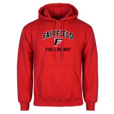 Red Fleece Hoodie-Field Hockey Arched
