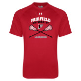 Under Armour Red Tech Tee-Lacrosse Arched Cross Sticks