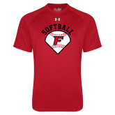 Under Armour Red Tech Tee-Softball Diamonds with Seams