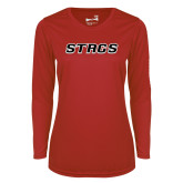 Ladies Syntrel Performance Red Longsleeve Shirt-Stags