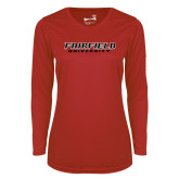 Ladies Syntrel Performance Red Longsleeve Shirt-Fairfield University Stacked