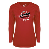 Ladies Syntrel Performance Red Longsleeve Shirt-Basketball Angled in Ball