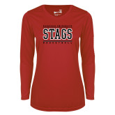 Ladies Syntrel Performance Red Longsleeve Shirt-Basketball Stacked