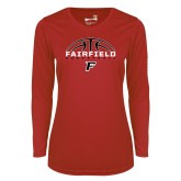 Ladies Syntrel Performance Red Longsleeve Shirt-Basketball Half Ball