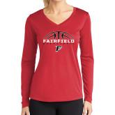 Ladies Syntrel Performance Red Longsleeve Shirt-Basketball Half Ball