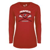 Ladies Syntrel Performance Red Longsleeve Shirt-Lacrosse Arched Cross Sticks