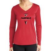 Ladies Syntrel Performance Red Longsleeve Shirt-Lacrosse Geometric Head