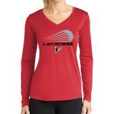 Ladies Syntrel Performance Red Longsleeve Shirt-Lacrosse Modern