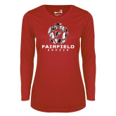 Ladies Syntrel Performance Red Longsleeve Shirt-Soccer Geometric Ball