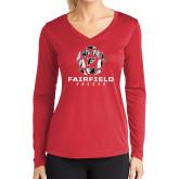 Ladies Syntrel Performance Red Longsleeve Shirt-Soccer Geometric Ball