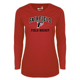Ladies Syntrel Performance Red Longsleeve Shirt-Field Hockey Arched