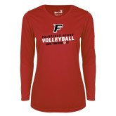 Ladies Syntrel Performance Red Longsleeve Shirt-Volleyball Dig it
