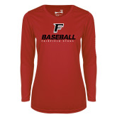 Ladies Syntrel Performance Red Longsleeve Shirt-Baseball Type with Icon