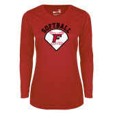 Ladies Syntrel Performance Red Longsleeve Shirt-Softball Diamonds with Seams