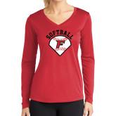 Ladies Syntrel Performance Red Longsleeve Shirt-Softball Diamonds with Seams