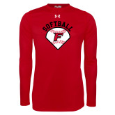 Under Armour Red Long Sleeve Tech Tee-Softball Diamonds with Seams