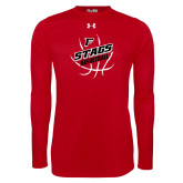 Under Armour Red Long Sleeve Tech Tee-Basketball Angled in Ball
