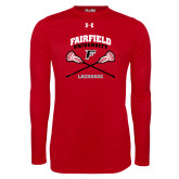 Under Armour Red Long Sleeve Tech Tee-Lacrosse Arched Cross Sticks