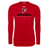 Under Armour Red Long Sleeve Tech Tee-Baseball Type with Icon