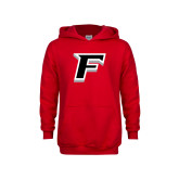 Youth Red Fleece Hood-Official Logo