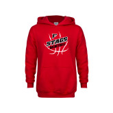 Youth Red Fleece Hoodie-Basketball Angled in Ball