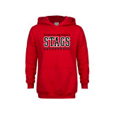 Youth Red Fleece Hoodie-Basketball Stacked