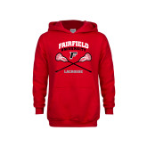 Youth Red Fleece Hoodie-Lacrosse Arched Cross Sticks
