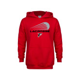 Youth Red Fleece Hoodie-Lacrosse Modern