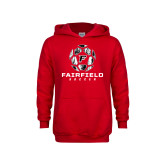 Youth Red Fleece Hoodie-Soccer Geometric Ball