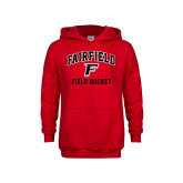 Youth Red Fleece Hood-Field Hockey Arched
