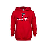 Youth Red Fleece Hoodie-Volleyball Dig it