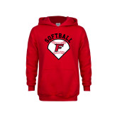 Youth Red Fleece Hoodie-Softball Diamonds with Seams