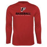 Performance Red Longsleeve Shirt-Baseball Type with Icon