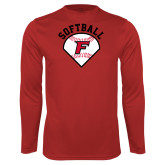 Performance Red Longsleeve Shirt-Softball Diamonds with Seams