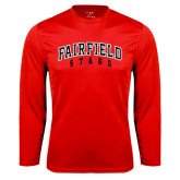 Syntrel Performance Red Longsleeve Shirt-Fairfield Stags Stacked