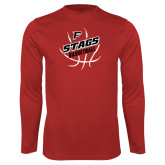 Performance Red Longsleeve Shirt-Basketball Angled in Ball