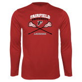 Performance Red Longsleeve Shirt-Lacrosse Arched Cross Sticks