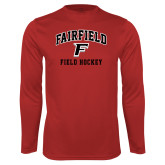 Performance Red Longsleeve Shirt-Field Hockey Arched