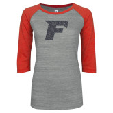 ENZA Ladies Athletic Heather/Red Vintage Triblend Baseball Tee-F Graphite Glitter