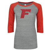 ENZA Ladies Athletic Heather/Red Vintage Triblend Baseball Tee-F Red Glitter