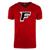 Next Level V Neck Red T Shirt-F